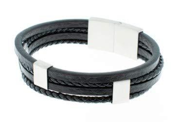 Pulsera SSK STYLE de Cuero stainless steel Premium para Hombre en Negro | Cierre de seguridad Magnético de Acero Inoxidable Gran Idea de Regalo | Modelo Urban 24 cm