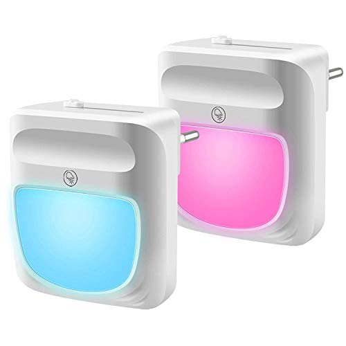 U UZOPI Nachtlicht Steckdose - 2 Stück LED Kinder Nachtlicht Dimmbar Steckdose Nachtlicht RGB 10 Farbwechsel Automatisch Energie sparen für Gelegenheiten Kinderzimmer, Schlafzimmer, Warmweiß