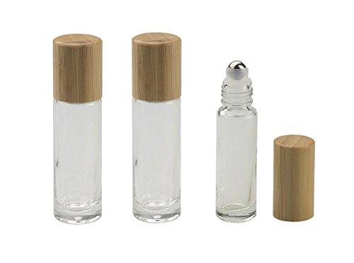3PCS 10ML/0,35OZ Clear Glas Ätherisches Öl Roll-on Fläschchen Flaschen mit Stahl Roller Balls und Bambus Deckel Kosmetik Make-Up Parfüm Lipgloss Lagerung Inhaber Verpackung Container