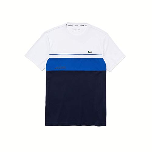 Lacoste Sport TH9561 T-Shirt, Blanc/Marine-Lazuli, S Homme