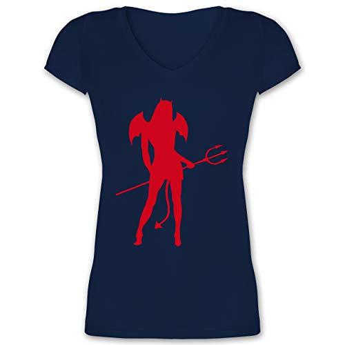 Halloween - Sexy Teuflin - XXL - Dunkelblau - sexy Shirt - XO1525 - Damen T-Shirt mit V-Ausschnitt