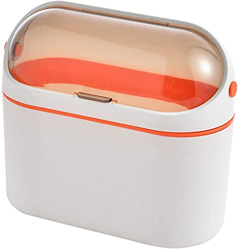 qiuqiu Cesta De La Mesa De Centro De La Cocina del Cuarto De Baño Montada En La Pared con El Cubo De Almacenamiento De La Tapa Pequeño Mini Bote De Basura-Orange