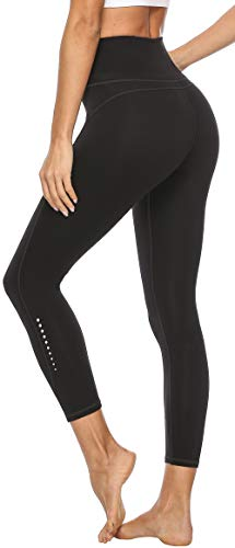 Persit Damen 7/8 Leggings, Sporthose Yogahose Sport Leggins für Damen Yoga Tights,S,Schwarz