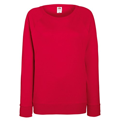 Fruit of the Loom Damen Sweatshirt Lightweight Raglan Sweat Lady-Fit 62-146-0 Red L