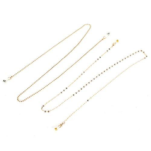 Corrente dourada de 2 peças, corrente de óculos de sol, acessório maravilhoso, antiderrapante para mulheres e mães