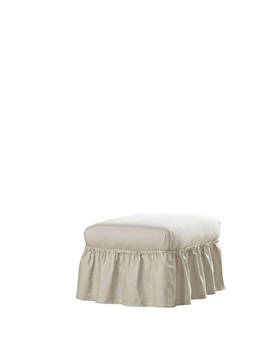 Serta | Relaxed Fit Durable Woven Linen Canvas Furniture Slipcover, Ottoman, Parchment