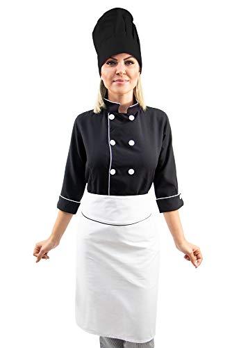 Kit Dolmã chef cozinha feminina manga 3/4 + Chapéu chef cozinha + Avental chef cozinha feminino
