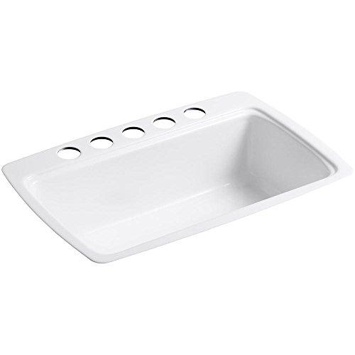 Kohler K-5864-5U-0 Cape Dory Undercounter Kitchen Sink, White