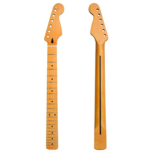 Faruxue Electric Guitar Neck Replacement, DIY Parts Replacement, 22 Fret Maple Fretboard Binding for String Instrument Changing Strings Repair