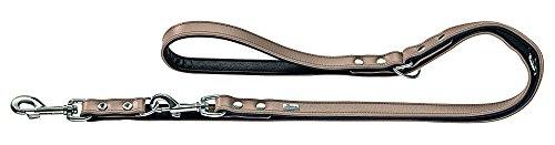 HUNTER BASIC Verstellbare Führleine für Hunde, beschichtetes Spaltleder, Kunstleder, witterungsbeständig, 1,8/200 cm, stein