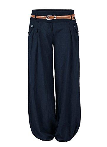 Cindeyar Damen Haremshose Elegant Pumphose Lange Leinen Hose mit Gürtel Aladin Pants (M, Dunkelblau)