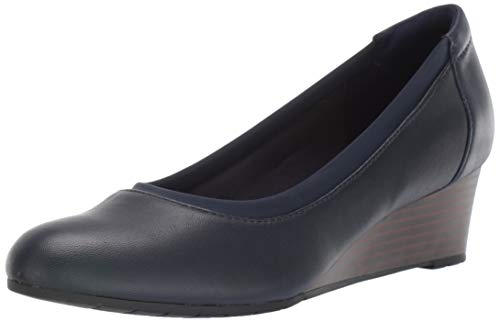 Clarks Women's Mallory Berry Shoe, Navy Leather,8.5