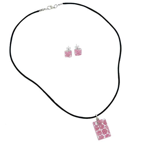GlassOfVenice Murano Glass Millefiori Necklace and Earrings Set - Pink