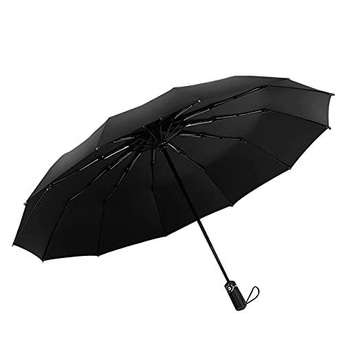 YLXAJKJGS-XCH Paraguas de Negocios de plástico Negro Plegable Completamente automático para Hombres, Paraguas de Lluvia y Lluvia de Refuerzo a Prueba de Viento