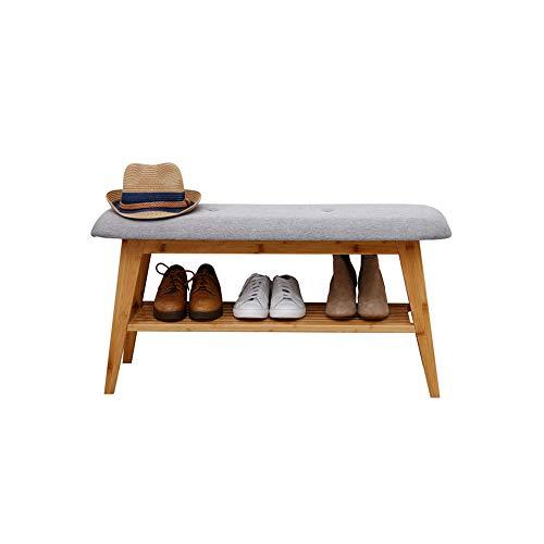 Zapatos de entrada apilable zapatos de banco de asiento de bambú gabinete de zapato de bambú para pasillo moderno zapatero taburete pequeño espacio espacio, almacenamiento utilidad estante estante
