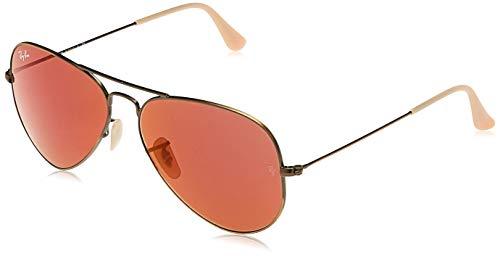 Ray-Ban Aviator Large Metal, Gafas de Sol Unisex Adulto, Multicolor (Demiglos Brushed Bronze & Red Mirror Lens), 58
