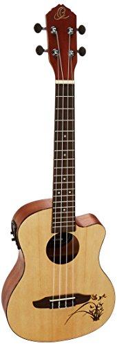 Ortega Gitars RU5CE-TE sparren/stapelhout tenor ukelele (Cutaway, kleiverwijderaar, Tortoise Style ABS binding, lasergravure)
