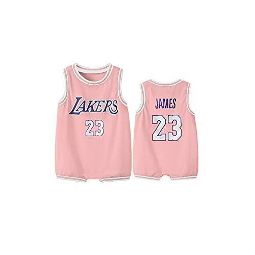 Mono de ropa de bebé, 0-3 años de edad Lakers No. 23 James, Nº 24 jersey de baloncesto, sin mangas chaleco de manga corta 90cm B