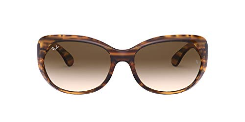 Ray-Ban Women's RB4325 Square Sunglasses, Striped Red Havana/Brown Gradient Dark Brown, 59 mm