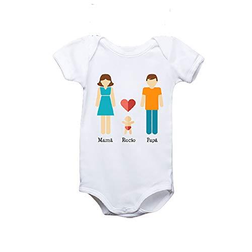 Regalo personalizado: body para bebé o camiseta infantil 'Familia' personalizable con los nombres del papá, la mamá y el hijo o la hija