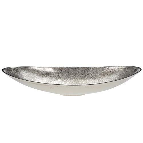 DRULINE Dekoschale Obstschale zur Dekoration Essen Snacks Süßigkeiten Schiff Oval Esszimmer, Wohnzimmer aus Aluminium | L x B x H 50 x 19 x 9.5 cm | Silber