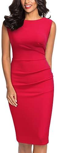 Miusol Women s Retro Ruffle Style Slim Work Pencil Dress Red product image