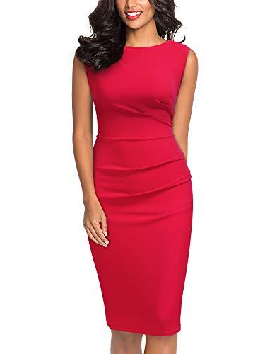 Miusol Women's Retro Ruffle Style Slim Work Pencil Dress Red