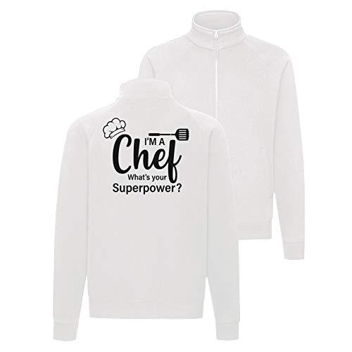 Chef Superpower Grillen - Chaqueta con impresión de margaritas, color blanco Blanco S