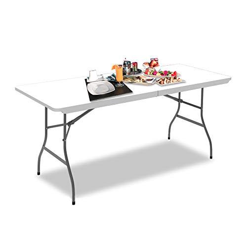 Todeco Table Pliante Camping, Table de Jardin Plastique, Traiteur Pliante Table en HDPE, Pieds en Acier Pelliculé Gris, 180 x 76 cm, Table Transportable pour BBQ Barbecue Pique-Nique
