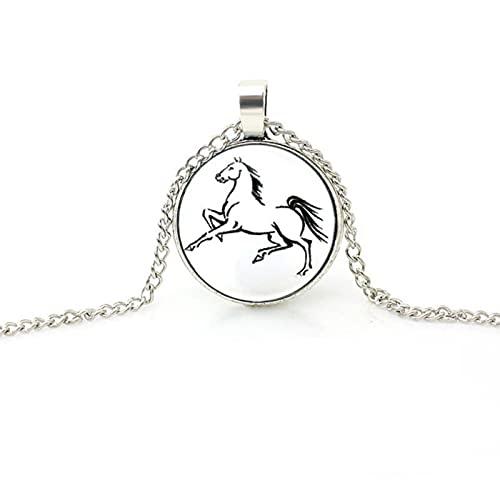Collar de caballo de moda vintage, cadena de eslabones de moda, collares de pedante de vidrio redondo para mujeres, hombres, joyería de animales-2