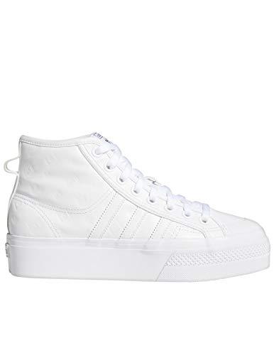 adidas Nizza Platform Mid W, Zapatillas Deportivas Mujer, FTWR White FTWR White Core Black, 38 EU