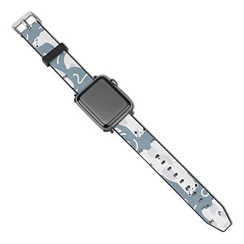 Compatible Con Apple Watch Correa 38 Mm 40 Mm 42 Mm 44 Mm Oso Polar De Dibujos Animados Correa De Repuesto De Cuero Pu Con Hebilla De Metal Para Iwatch Series 5 4 3 2 1 42mm/44mm