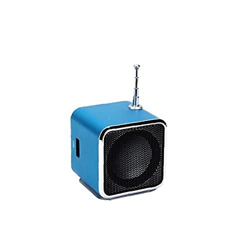 Mini altavoz portable de TD V26 LCD digital de sonido Micro SD TF USB FM Radio Música Altavoz estéreo compatible para el ordenador portátil de MP3 Teléfono móvil Azul Mini Altavoz