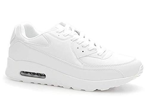King Of Shoes Trendige Damen Schnür Sneakers Laufschuhe Sport Fitness Freizeit Turnschuhe D9 (37, Weiß 2)