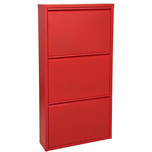 PAME Mueble Zapatero Rojo, Aluminio, 50x15x103 cm