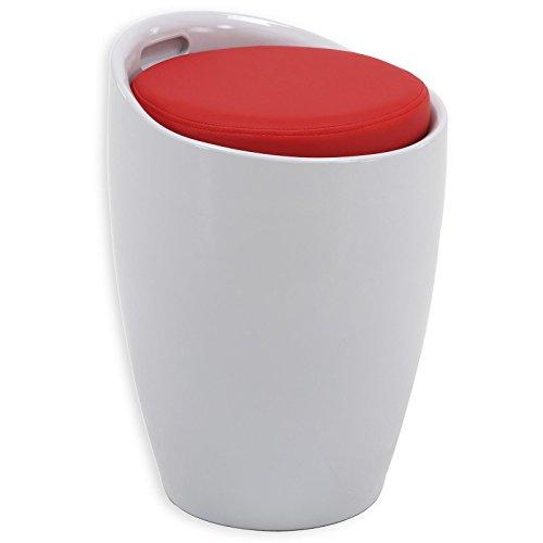 IDIMEX Sitzhocker Arbeitshocker Badhocker Badschemel Stauraumhocker Daniel, mit Stauraum und Sitzkissen in weiß/rot