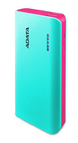 ADATA APT100-10000M-5V-CTBPK Power Bank 10,000mAh (wiederaufladbare Lithium-Ion Akkus), Zwei USB-Ausgänge DC 5V/ 1A und 2,1A max (USB-A), LED-Taschenlampe, LED-Strompegelanzeige Tiffany-Blau/Rosa
