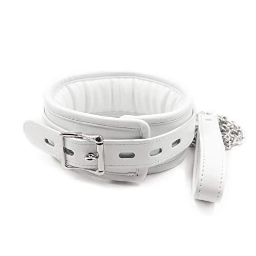 L Big Boss Halsband aus weichem Leder, Weiß
