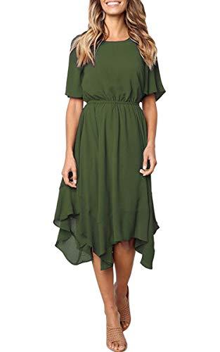 ECOWISH Damen Chiffon Kleider Asymmetrisch Sommerkleid Einfarbig Rundhals Kurzarm Plissee Kleid Casual Lose Kleid Knielang Grün XL