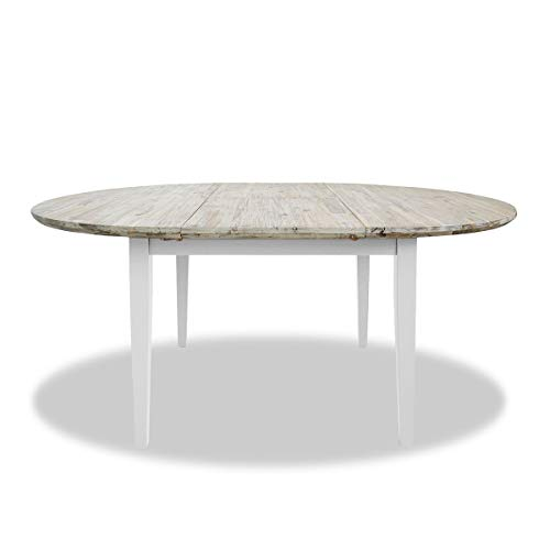 Florence large round/oval extended table. White kitchen table with center extension (115-160cm) Quality kitchen dining table with thick acacia top.
