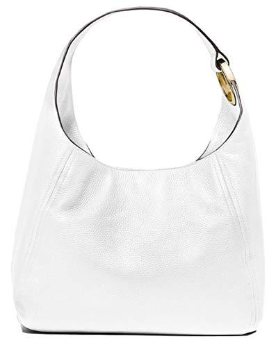 "Shoulder bag Pebbled leather 100% leather Gold-tone hardware 16.5""W X 9.5""H X 9.5""D Interior details: back zip pocket, 2 front slip pockets Lining: 100% polyester Snap fastening Imported"