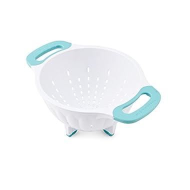 KitchenAid Plastic Strainer/Colander, 1.5-Quart, White/Aqua Sky