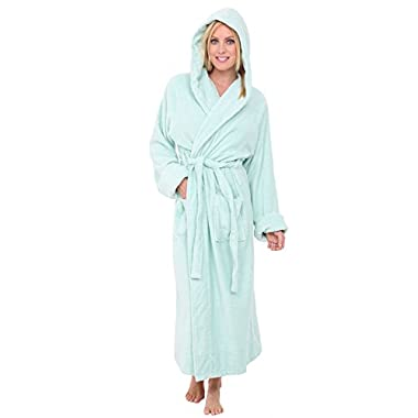 Alexander Del Rossa Womens Turkish Terry Cloth Robe, Long Cotton Hooded Bathrobe, 1XL 2XL Sea Foam (A0127SFM2X)