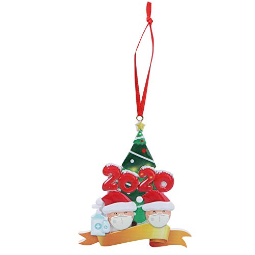 SOIMISS 2020 Adorno Navideño Resina Cuarentena Sobreviviente 2 Familia Colgante con Cuerda Kit de Decoración Navideña Personalizado para Árbol de Navidad Decoración Colgante Rojo