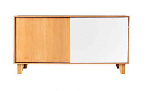 Buffet commode en bois avec 2 portes coulissantes au design moderne