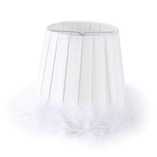 fuwinkr Pantalla de lámpara pequeña Blanca, lámpara Colgante de Tela de Plumas, lámpara Colgante, Pantalla de Tela, Cubierta de lámpara para lámpara de Mesa y luz de Piso