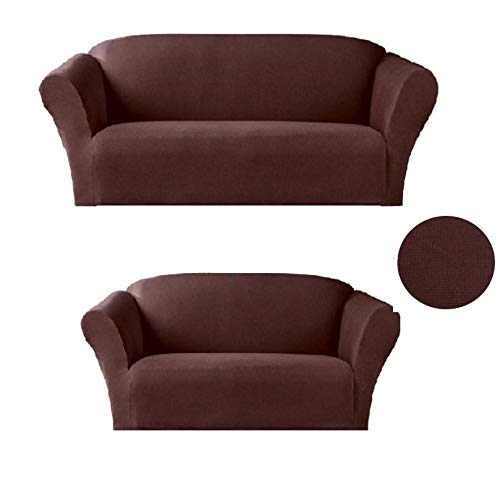 Sapphire Home 2-Piece SlipCover Set for Sofa Loveseat Couch, Form fit Stretch, Wrinkle Free, Furniture Protector Cover Set for 3/2 Cushions, Polyester Spandex, 2pc Slipcover Set, Coffee Chocolate