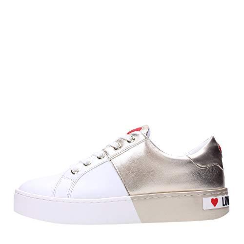 Love Moschino Shoes JA15013G1A Baskets Femme Blanc/Platine 39