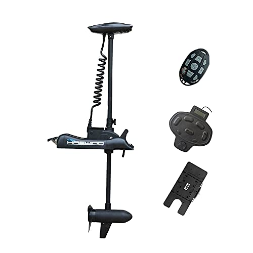 PARKHO HASWING Electric Trolling Motor – 12V 55LB 48 Inch Shaft Cayman B Bow Mount Boat Fishing Saltwater Freshwater with Remote Control Quick Release Bracket Wired Foot Controller 50700-120B_R+Q+F