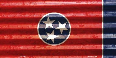 Bargain World Tennessee Corrugated Flag Novelty License Plate (With Sticky Notes)